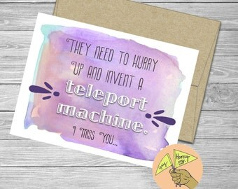 Hurry Up and Invent a Teleport Machine, I Miss You, Love,  blank card,  friendship, congratulations, anniversary, purple watercolor