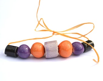 Nocturne II. Ceramic Beads, Set of Various Shapes and Colors, Handpainted in Violet, Soft Violet, Bright Orange and Black