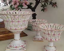 Vintage Royal Danube Raised Pierced Pink Floral Porcelain Gilt Accent Compote Set