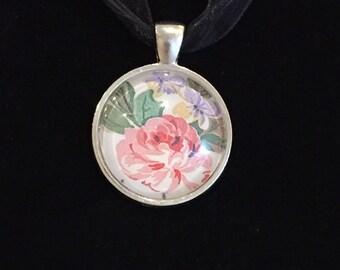 Glass Pendant With Vintage Pink Rose Laura Ashley Design - Juliet