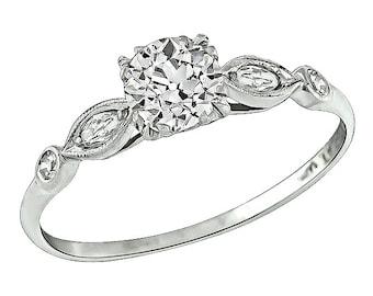 Vintage GIA Certified 0.54ct Diamond Engagement Ring