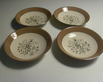 Flintridge Woodsong Cocoa Rim Floral Center Platinum Trim Set Of Four Dessert Bowls