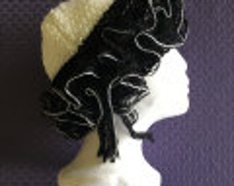 Latest Rage:  Ladies' Knit Hat with Ruffle  White & Black