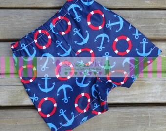 NAUTICAL Blue Red ANCHOR Shorts for Boys or Girls NB, 0-3 mo 6-9 mo 12 mo 18 mo 24 mo 3T 4 5 6 7 8