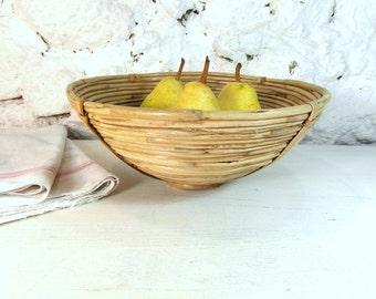 Wicker bowl basket, coil basket, ethnic basket, round basket, boho decor, French country decor, African basket, boho decor, ethnic decor.