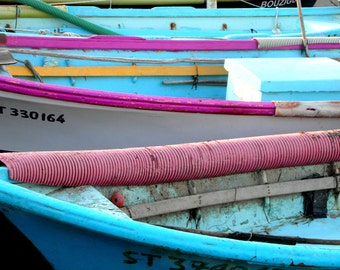 Photography print : Blue & purple fishing boats, France photography, nautical decor, Mediterranean decor, nautical print, gift for him.
