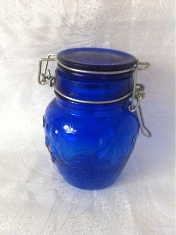Items Similar To Blue Glass Jar Cobalt Blue Glass Canning Jar Bowl Bottle With Glass Lid Retro