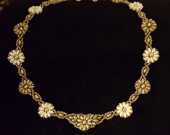 Sunflowers & Daisies Floral Beaded Necklace; Superduos Gold, White, Brown