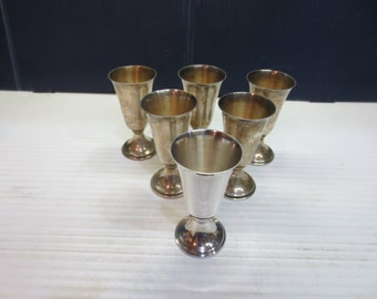 Set of 6 Sterling Silver Footed Cordials / Shot Glasses