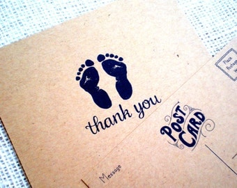 Set of 10 Baby Shower Thank You Postcards - Hand Drawn Kraft Thank You Postcards with Footprints Design - Baby Boy, Girl or Gender Neutral