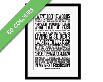 Walden by Henry David Thoreau Art Print - Went to the Woods - Walden Pond - Inspirational Motivational - Literature Quote Art - Nature Print