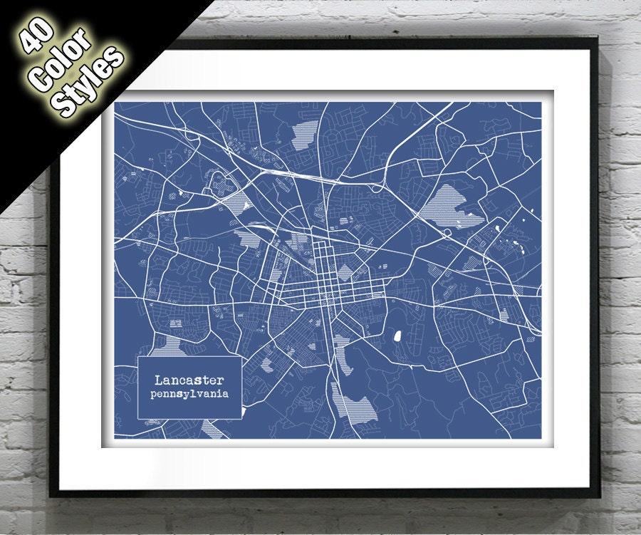 Lancaster Pennsylvania Blueprint Map Poster Art Print