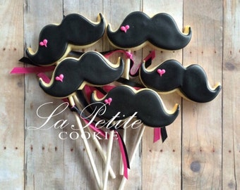 Mustache Cookie Pops/ mustache baby shower