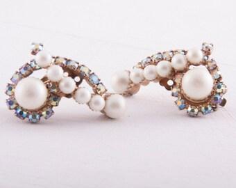 pearl + rhinestone earrings vintage 1950s • Revival Vintage Boutique