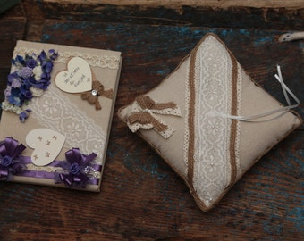 Vintage Wedding Set - Hessian Guestbook & Ring Cushion - Hand Decorated - Wedding Guestbook / Ring Bearer Cushion - All Colours Available