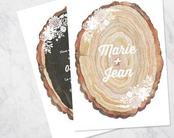 Wood slice wedding invitation SAMPLE