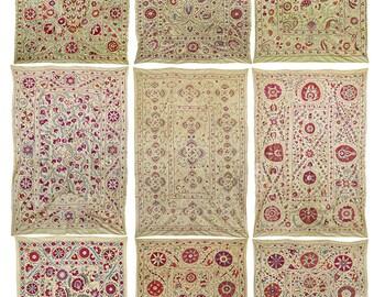 9 x Soft silk hand embroidered suzanis from Uzbekistan