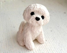 Bichon Frise Dog Sculpture Polymer Clay Mini Hand sculpted by Raquel at theWRC  DOG Collectible