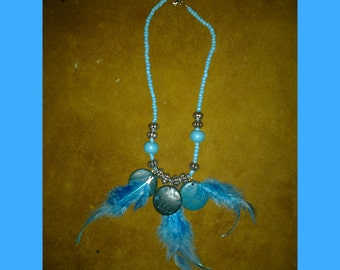 Blue// Feather//hippy//wood//Boho//Necklace