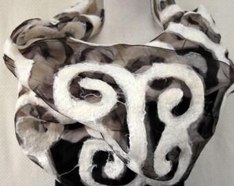 Nuno felt shawl for women. Felted silk scarf handmade brown white.