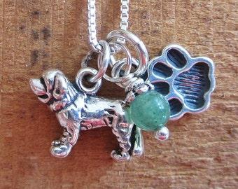 Saint Bernard Mini Paw Print Sterling Silver Necklace