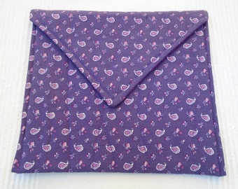 Veggies steamer bag for the microwave - quilted purple paisley , purple floral