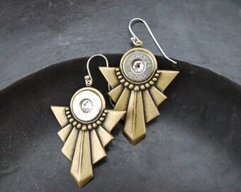 Antique Brass Bullet Earrings