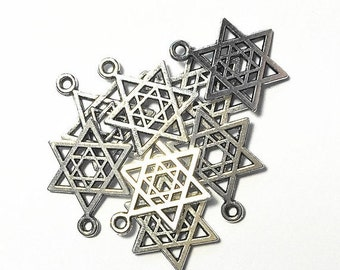 25%OFF Star of David Silver Plated Charms - Lot of 15