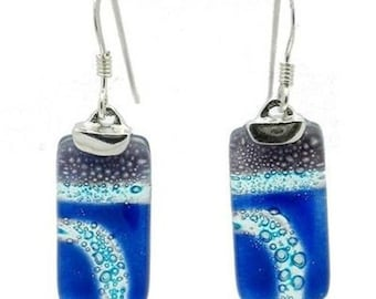 Blue Highway Glass Rectangle Earrings with Sterling Silver FREE USA SHIPPING