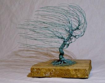 Verdgris Copper Wire Windswept Sculpture #1486