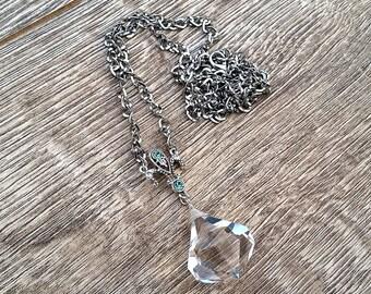 Clear Skies- Vintage Chandelier Crystal Point Fleur de Lis Pendant Necklace
