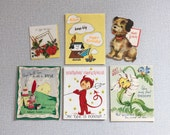 Mid Century Greeting Cards / Lot of 6 / 1950s Roses Daisy Little Devil