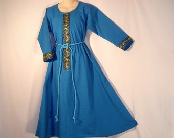 Girl Sz 10 Medieval SCA LARP Cotton Dress Gown w/ Jacquard Trim