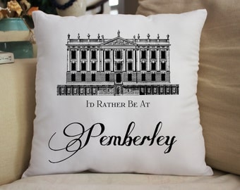 Jane Austen Pride & Prejudice Pemberley House Throw Pillow Gift
