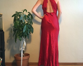 90s Red Satin Cut Out Halter Gown