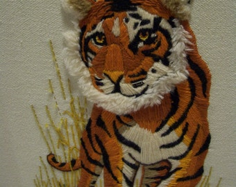 Vintage Needlepoint Tiger in Wild Grass Framed,Africa, Safari