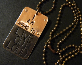 Emile Zola Live Out Loud Hand Metal Stamped Brass Pendant and Ball Chain Necklace