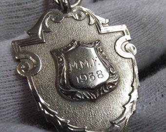 Vintage Sterling Silver Watch Fob Hallmarked Birmingham 1937 by William Hair Haseler.