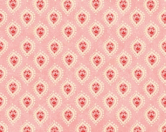 Pink Boho Fabric - Tree of Life by Sue Zipkin for Clothworks - small geometric teardrop, pink fabric, peacock feather pink Y1665-42