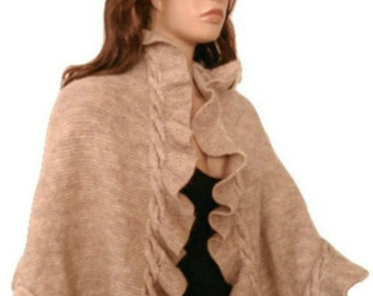Beige Ruffle Wool Handknit Shawl, Scarf, Light Beige, Cableknit, Kate Middleton, Wrap Three Sides Ruffle, Ready to Ship, Express Delivery