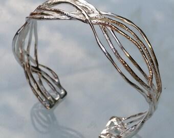 Sterling Silver Cuff Bracelet ,Handmade Silver Cuff ,Unique Cuff ,Wide Silver Cuff ,Bridal Silver Cuff ,Women Bangle ,Textured Silver Bangle