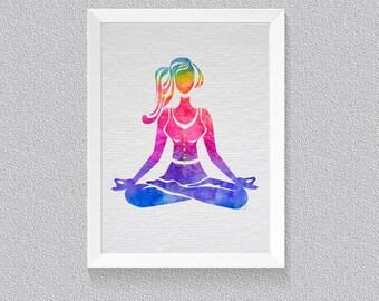 Yoga Print, Yoga Art, Yoga Watercolor Art,  Namaste, Inspirational Print, Yoga Painting, Yoga Studio Decor, Gift Yoga Lover {13}