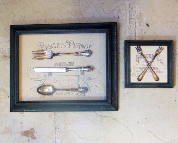 Vintage framed silverware wall art with typography for Framed wall art for dining room