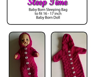 SLEEP TIME fits 16 to 17 inch dolls (pattern only)