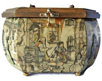 Anton Pieck Decoupage Purse Lucite Handle Wood Handbag Village