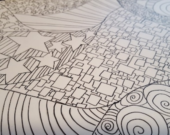 Mishmash - Adult Coloring Page - 8x10 Hand drawn