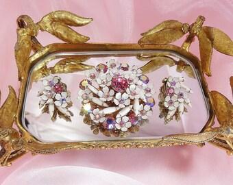 Vintage Floral Enamel Brroch Set