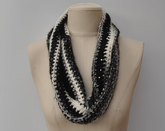 Black/cream/grey crocheted cowl with sequins