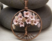 """Tree-Of-Life Necklace Pendant 1.8"""" Copper Wire Wrapped Pendant Brown Wired Copper Jewelry Wire Wrapped ModernTree Pink Opal Necklace Rustic"""