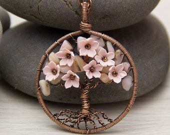 "Tree-Of-Life Necklace Pendant 1.8"" Copper Wire Wrapped Pendant Brown Wired Copper Jewelry Wire Wrapped ModernTree Pink Opal Necklace Rustic"